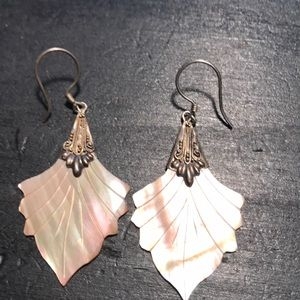 Mother of pearl and silver earrings vintage